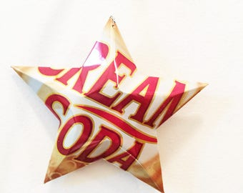 Cream Soda Recycled Aluminum Can Star, Ornament