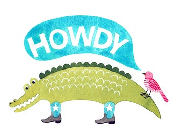 Howdy Alligator and Bird Watercolor Print