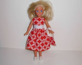 Cute dress for barbies' sister Stacie vintage or modern dolls. Handmade barbie clothes
