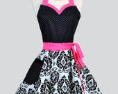 Sweetheart Pin Up Womans Apron . Retro Hot Pink and Black Damask with Polka Dot Cute Flirty and Sexy Vintage Style Hostess or Wedding Apron