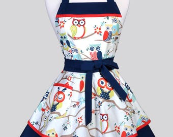 Womens Ruffled Retro Apron . Navy Blue and White Winking Owls Womans Cute Vintage Pin Up Flirty Kitchen Apron to Personalize or Monogram