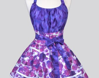 Womens Flirty Chic Apron . Bed of Purple Violets Womans Sexy Vintage Style Retro Pinup Kitchen Cooking Apron with Pocket