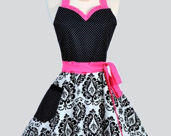 Sweetheart Pinup Womans Apron . Retro Hot Pink and Black Damask with Polka Dot Cute Flirty Sexy Vintage Style Hostess or Wedding Apron