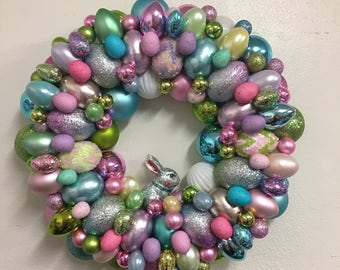 Adorable Easter Bunny Eggs Ornament Wreath - Pink Green Blue Yellow Lavender