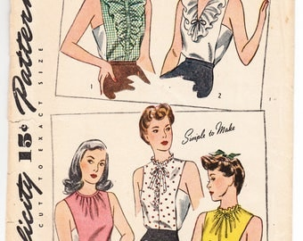 Vintage 1943 Simplicity 4748 Sewing Pattern Misses' Dickey Size Small Bust 30-32
