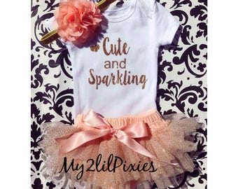 Baby Girl Take home outfit, Tutu Bloomer, Onesie and Headband set- Cute and Sparkling, personalize New Newborn baby Girl Onesie, baby