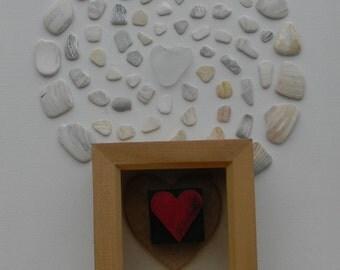 Framed heart, letterpress wooden printing blocks.