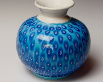 Ceramic Vase, Blue and White, Spotted, Porcelain Pottery