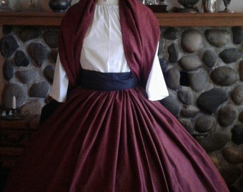 Civil War Pioneer Colonial Choice of Plaid Skirt Blouse and Sash