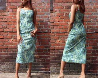 Vintage Green and Blue Psychedelic Maxi Dress