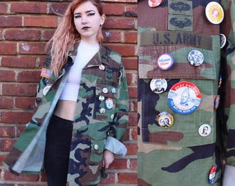 Vintage Lightweight Camo Jacket with Vintage Presidential Pins