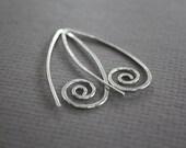 Swirly simple hook sterling silver earrings - Threader earrings - Spiral earrings - Trendy earrings - Minimalist earrings - ER014