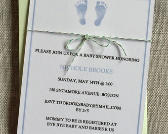 Baby footprints baby shower invitations , baby announcements.