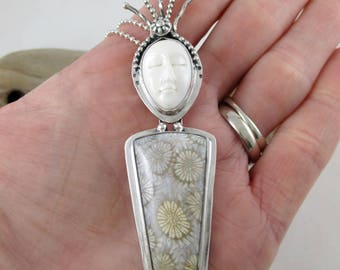 Fossil Coral Sterling Silver Carved Bone Face Pendant Necklace