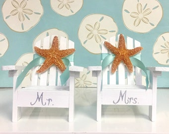 Beach Wedding Cake Topper - 2 Mini Adirondack Chairs with Starfish -  6 Chair Colors - 24 Ribbon Choices - Coastal Beach Theme Mr. and Mrs.