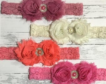30% OFF SPRING SALE Ivory Lace Headband, Silver, Pink, Pearl, Easter, Baby Headband, Infant Headband, Newborn Headband, Flower Girl, Easter,