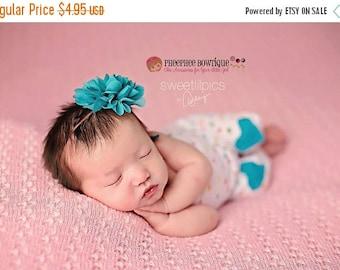 30% OFF SPRING SALE Teal Flower Headband, Emma Petal, Newborn Headband, Baby Headband, Infant Headband, Photo Prop, Flower Girls, Weddings,