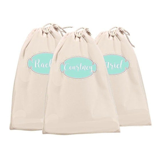 Bridesmaid Bags, Canvas Shoe Bags, Monogrammed Bag, Large Shoe Bag, 11 x 16 Makeup Bag, Lingerie Bag, Bride Tribe Bags, Maid of Honor Bag