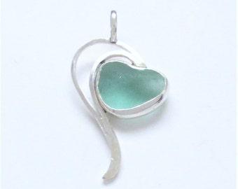 Sea Glass Jewelry - Sterling Aqua Sea Glass Heart Pendant