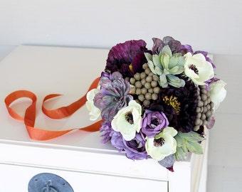 Custom Listing for Natalia - Purple Succulent Plum Lavender Wedding Bouquets and Wrist Corsages