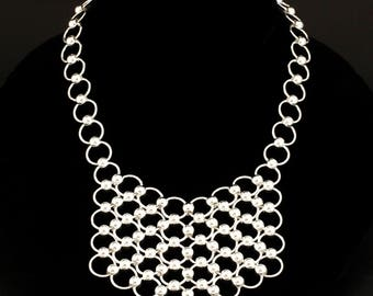 Bead and Bib Sterling Silver Necklace