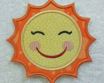 Happy Sun Fabric Embroidered Iron On Applique Patch Ready to Ship