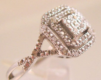 SALE ON Ends 4/30 Art Deco Style Genuine Diamond 1/3ct Ring Sterling Silver Engagement Ring Vintage Jewelry Jewellery