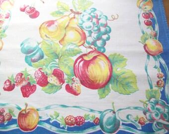 Vintage Tea Towel, kitchen, fruit design, blue border