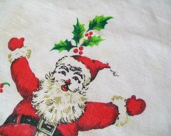 Vintage Linen Towel, Santa, Christmas, holiday, poinsettias, kitchen