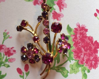 Vintage 50s Pink and Purple Rhinestone Floral Pin Brooch