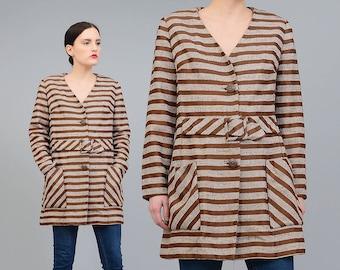 Vintage 60s Jacket - Brown Striped Jacket - Buckle Waist Belted Coat - Space Age 1960s Mod Jacket - White Stripes - Medium M