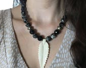 Faceted Black Agate - Carved Bone Leaf/Feather Pendant - Oxidized Silver Metal Beads