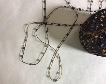 KFI Knitting Fever Dazzle Ladder Yarn #91 Browns Tan Gold Trellis Ladder Ribbon Yarn 25 grams 82 yards