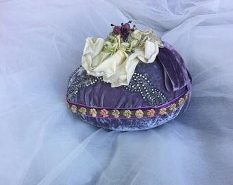 Velvet Easter Egg Centerpiece,  French Flower Trim, Vintage Velvet Ribbon, Rhinestones