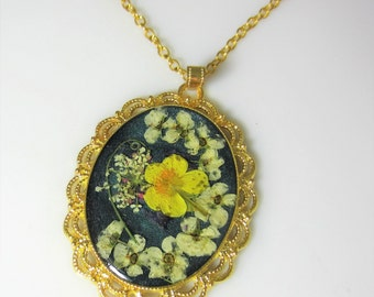Buttercup,  Pressed Flower Pendant, Real Flower Necklace,  Resin (1997)