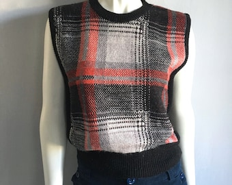 Vintage Women's 80's Sweater Vest, Sleeveless, Black, Red, Gray, Acrylic by Joyce (S/M)
