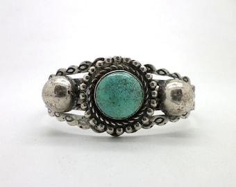 Harvey Style Bracelet Turquoise Southwest Western Stamped Silver Metal