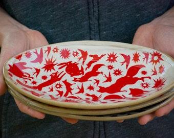 Ceramic Appetizer Plate - handmade dish  -  Dessert Plate - pottery cake plate - tapas bowl - oval dish -  rustic farmhouse dish