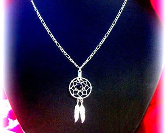 TWO FEATHERS Dreamcatcher necklace silver with black onyx, boho necklace, native
