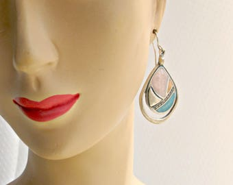 Vintage 80s Earrings Pink Blue Orange Enamel Jewelry Pierced Southwest Style
