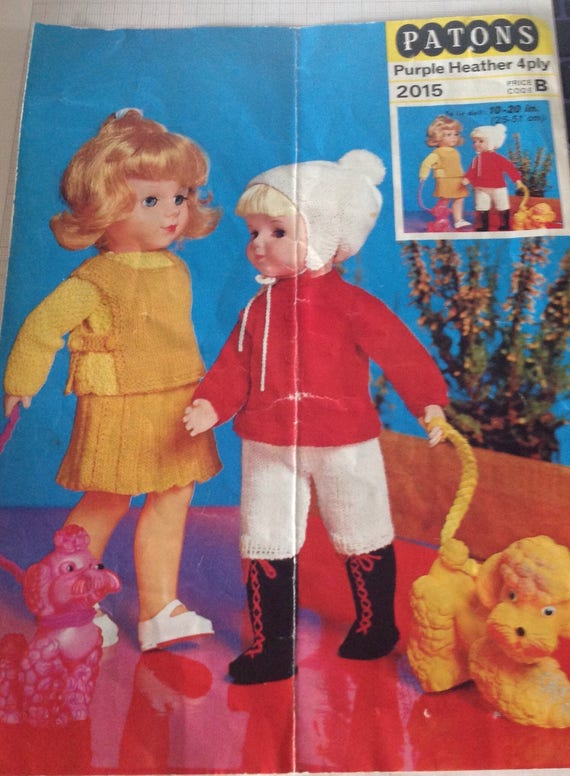 Vintage Dolls Clothes Knitting Pattern Vintage Knitting