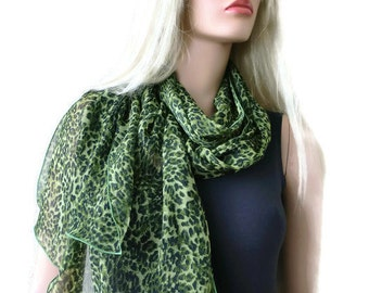 Grass geeen leopard long chiffon scarf -Parisian Neck Tissu-Extra long