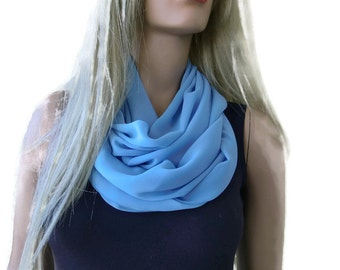 Chiffon infinity scarf,Lake blue/solid blue chiffon cowl-Extra full- Instant gratification