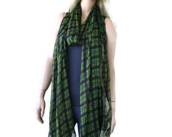 Green tartan-plaid super long and wide chiffon scarf-Extra long summer scarves-115 inches long