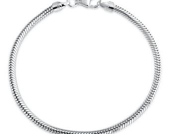 "Top Quality Snake Chain Charm Bracelet 3mm for European Charm Beads (7"" 7.5"" 8"" 8.5""), Sterling Silver Plated, CF177"