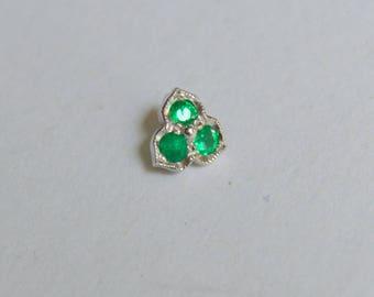 Trillium Three Petal Slider Pendant with Emerald, Emerald Pendant in 14Kt White Gold, Slider Pendant, 3 Stone Emerald Pendant