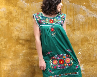 Green and multi colored embroidery Puebla Dress