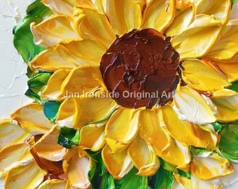 Sunflower Painting, Oil Painting Sunflower Original Small oil painting Impasto Flowers