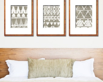 Tunisian Terrace Geometric Patterns (Series A3) Set of 3 - Art Prints (Featured in Italian Stone) Botanical Print Set