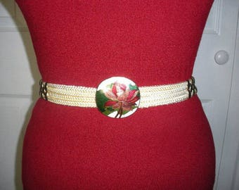 Vintage Beige Elastic Stretch Cordage Belt With Lotus Flower Cloissone Enamel Buckle XS S M